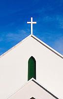 Simple stucco church detail with cross, Bermuda