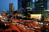 East Sanhuan road at night in Beijing, China..19 Aug 2005