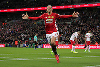 Zlatan Ibrahimovic of Manchester United celebrates after scoring the third goal during the EFL Cup Final match <br /> Londra Wembley Stadium Southampton vs Manchester United - EFL League Cup Finale - 26/02/2017 <br /> Foto Phcimages/Panoramic/Insidefoto