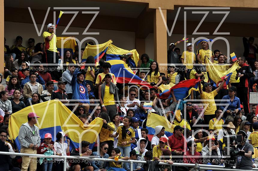 BOGOTA - COLOMBIA – 15 – 09 -2019: Fanáticos de Colombia, durante partido de la Copa Davis entre los equipos de Colombia y Croacia, partidos por el ascenso al Grupo Mundial de Copa Davis por BNP Paribas, en la Plaza de Toros La Santamaria en la ciudad de Bogota. / Fans of Colombia, during a Davis Cup match between the teams of Colombia and Croatia, match promoted to the World Group Davis Cup by BNP Paribas, at the La Santamaria Ring Bull in Bogota city. / Photo: VizzorImage / Luis Ramirez / Staff.