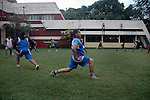 INDIA (West Bengal - Calcutta)July 2007,Shakila Babe  and Shanno Babe during  practice at Sports Authority of India Complex (East Zone) in Kolkata. Shakila and Shanno are twins from a poor muslim family of Iqbalpur, Kolkata. . Inspite of their late father's unwillingness to send his daughters to take up  boxing her mother Banno Begum inspired them to take up boxing at the age of 3. Their father was more concerned about the social stigma they have in their community regarding women coming into sports or doing anything which may show disrespect to the religious emotions of his community. Shakila now has been recognised as one of the best young woman boxers of the country after she won the  international championship at Turkey in the junior category. Shanno is also been called for the National camp this year. Presently Shakila and shanno has become the role model in the Iqbalpur area  and parents from muslim community of Iqbalpur have started showing interst in boxing. Iqbalpur is a poor muslim dominated area mostly covered with shanty town with all odds which comes along with poverty and lack of education. - Arindam Mukherjee