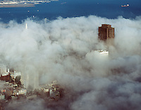 aerial photograph of 555 California Street, former Bank of America Center, Transamerica Pyramid, San Francisco, California in the fog