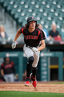 Indianapolis Indians Cole Tucker (27) runs to first base after hitting a home run during an International League game against the Buffalo Bisons on June 20, 2019 at Sahlen Field in Buffalo, New York.  Buffalo defeated Indianapolis 11-8  (Mike Janes/Four Seam Images)