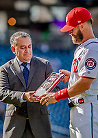 26 September 2018: Washington Nationals outfielder Bryce Harper receives the Player of the Year Award from MASN Reporter Mark Zuckerman prior to a game against the Miami Marlins at Nationals Park in Washington, DC. The Nationals defeated the visiting Marlins 9-3, closing out Washington's 2018 home season. Mandatory Credit: Ed Wolfstein Photo *** RAW (NEF) Image File Available ***