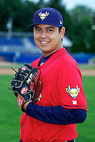 State College Spikes pitcher Luis Heredia #55 poses for a photo before a game against the Batavia Muckdogs at Dwyer Stadium on June 25, 2012 in Batavia, New York.  State College defeated Batavia 7-4.  (Mike Janes/Four Seam Images)