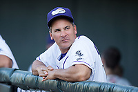 Winston-Salem Dash manager Omar Vizquel (13) prior to the game against the Lynchburg Hillcats at BB&T Ballpark on May 3, 2018 in Winston-Salem, North Carolina. The Dash defeated the Hillcats 5-3. (Brian Westerholt/Four Seam Images)