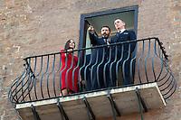 Monica Bellucci, Rome's Mayor Ignazio Marino e Daniel Craig<br /> Roma 18-02-2015 Campidoglio. In occasione del'inizio delle riprese del nuovo 007 a Roma, visita dei due attori al Campidoglio.<br /> Due to the new dil of James Bond, 007, that will be set in Rome, actors Daniel Craig and Monica Bellucci visit the Campidoglio<br /> Photo Samantha Zucchi Insidefoto