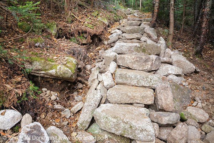 October 2011 - Newly built stone staircase along the Mt Tecumseh Trail in the New Hampshire White Mountains. The two large holes on the left-hand side of the trail work were left as is. And over the years this section has had erosion issues. See how this section looked 9 months later here: http://bit.ly/2vQOMr9