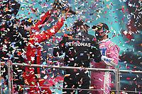 15th November 2020; Istanbul Park, Istanbul, Turkey; FIA Formula One World Championship 2020, Grand Prix of Turkey, Race Day;  Toto Wolff AUT, Mercedes AMG Petronas Motorsport, 5 Sebastian Vettel GER, Scuderia Ferrari Mission Winnow, 44 Lewis Hamilton GBR, Mercedes-AMG Petronas Formula One Team, 11 Sergio Perez MEX, BWT Racing Point F1 Team on the podium in a champagne shower