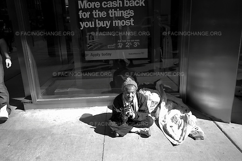 Chicago, Illinois<br /> October 4, 2011<br /> <br /> A homeless in front of Bank of America.