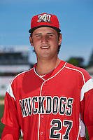 Batavia Muckdogs pitcher Ryan McKay (27) poses for a photo before the teams first practice on June 15, 2016 at Dwyer Stadium in Batavia, New York.  (Mike Janes/Four Seam Images)