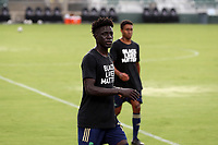 CARY, NC - AUGUST 01: Malick Mbaye #15 walks off the field during a game between Birmingham Legion FC and North Carolina FC at Sahlen's Stadium at WakeMed Soccer Park on August 01, 2020 in Cary, North Carolina.