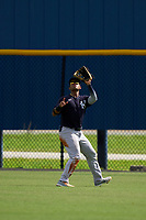 FCL Yankees outfielder Raimfer Salinas (31) catches a fly ball during a game against the FCL Tigers West on July 31, 2021 at Tigertown in Lakeland, Florida.  (Mike Janes/Four Seam Images)