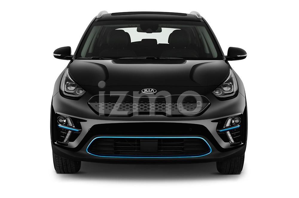 Car photography straight front view of a 2019 KIA e-Niro More 5 Door SUV Front View