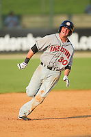 Brett Newsome #30 of the Hagerstown Suns hustles towards third base against the Kannapolis Intimidators at Fieldcrest Cannon Stadium August 8, 2010, in Kannapolis, North Carolina.  Photo by Brian Westerholt / Four Seam Images