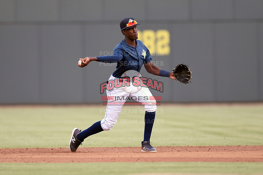 Shortstop Ronny Mauricio (2) of the Columbia Fireflies throws to first in a game against the Rome Braves on Tuesday, June 4, 2019, at Segra Park in Columbia, South Carolina. Columbia won, 3-2. (Tom Priddy/Four Seam Images)
