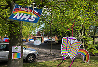 High Wycombe, UK. 16th April, 2020.<br /> A tree is decorated saying Thank You to the NHS during the Covid-19 Pandemic as the UK Government advice to maintain social distancing and minimise time outside in High Wycombe on 16 April 2020. Photo by PRiME Media Images