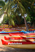Colorful canoes looking toward west Maui on South Kihei Road