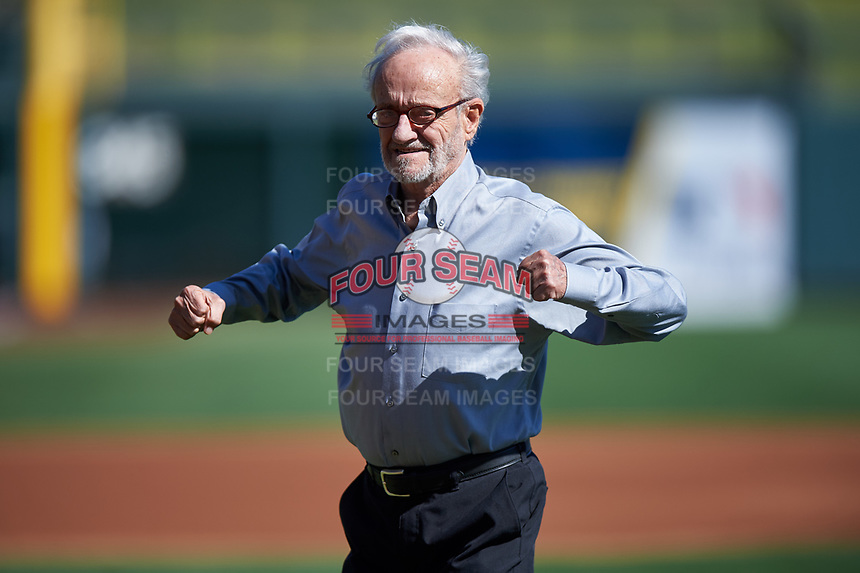 """Roland Hemond, the """"Architect of the Arizona Fall League"""", reacts after throwing out the first pitch before the Arizona Fall League Championship Game between the Salt River Rafters and Surprise Saguaros on October 26, 2019 at Salt River Fields at Talking Stick in Scottsdale, Arizona. The Rafters defeated the Saguaros 5-1. (Zachary Lucy/Four Seam Images)"""