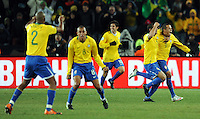 Luis Fabiano of Brazil celebrates scoring his side's second goal. Brazil defeated USA 3-2 in the FIFA Confederations Cup Final at Ellis Park Stadium in Johannesburg, South Africa on June 28, 2009.