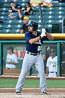 Zack Cox (22) of the New Orleans Zephyrs at bat against the Salt Lake Bees in Pacific Coast League action at Smith's Ballpark on August 27, 2014 in Salt Lake City, Utah.  (Stephen Smith/Four Seam Images)