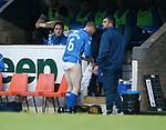 St Johnstone v Kilmarnock...07.11.15  SPFL  McDiarmid Park, Perth<br /> Steven Anderson gets changed after he got blood on his kit<br /> Picture by Graeme Hart.<br /> Copyright Perthshire Picture Agency<br /> Tel: 01738 623350  Mobile: 07990 594431
