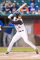 Lansing Lugnuts third baseman Carl Wise (6) at bat against the South Bend Cubs on May 12, 2016 at Cooley Law School Stadium in Lansing, Michigan. Lansing defeated South Bend 5-0. (Andrew Woolley/Four Seam Images)