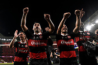 1st May 2021; Bankwest Stadium, Parramatta, New South Wales, Australia; A League Football, Western Sydney Wanderers versus Sydney FC; new signing and winning goal scorer Scott Mcdonald and James Troisi of  Western Sydney Wanderers celebrate with fans after the game