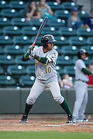 Claudio Bautista (10) of the Lynchburg Hillcats at bat against the Winston-Salem Dash at BB&T Ballpark on April 28, 2016 in Winston-Salem, North Carolina.  The Dash defeated the Hillcats 4-1.  (Brian Westerholt/Four Seam Images)