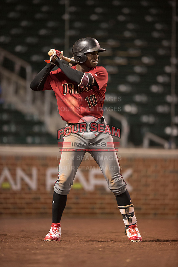 AZL Diamondbacks center fielder Kristian Robinson (10) on deck during an Arizona League game against the AZL Cubs 1 at Sloan Park on June 18, 2018 in Mesa, Arizona. AZL Diamondbacks defeated AZL Cubs 1 7-0. (Zachary Lucy/Four Seam Images)