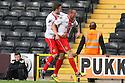 James Dunne of Stevenage celebrates (l) with Robin Shroot<br />  - Notts County v Stevenage - Sky Bet League One - Meadow Lane, Nottingham - 24th August 2013<br /> © Kevin Coleman 2013