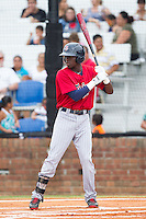 Nick Gordon (9) of the Elizabethton Twins at bat against the Johnson City Cardinals at Cardinal Park on July 27, 2014 in Johnson City, Tennessee.  The game was suspended in the top of the 5th inning with the Twins leading the Cardinals 7-6.  (Brian Westerholt/Four Seam Images)