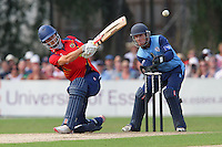 James Foster hits out for Essex as Richard Johnson looks on - Essex Eagles vs Derbyshire Falcons - Yorkshire Bank YB40 Cricket at Castle Park, Colchester Cricket Club - 25/08/13 - MANDATORY CREDIT: Gavin Ellis/TGSPHOTO - Self billing applies where appropriate - 0845 094 6026 - contact@tgsphoto.co.uk - NO UNPAID USE