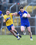 Eoin Cleary of Clare in action against Niall Kilroy of Roscommon during their National League game at Cusack Park. Photograph by John Kelly.