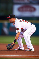Rochester Red Wings first baseman Brock Peterson (19) during a game against the Lehigh Valley IronPigs on May 15, 2015 at Frontier Field in Rochester, New York.  Rochester defeated Lehigh Valley 5-4.  (Mike Janes/Four Seam Images)