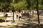 People walking at Jamison Square, Pearl District, Portland, Oregon