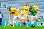 Paudie O'Connor, Kerry in action against Gerard Walsh, Antrim during the Joe McDonagh Cup Final match between Kerry and Antrim at Croke Park in Dublin.
