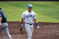 Duke Blue Devils first baseman Chris Crabtree (3) on defense against the Liberty Flames in NCAA Regional play on Robert M. Lindsay Field at Lindsey Nelson Stadium on June 4, 2021, in Knoxville, Tennessee. (Danny Parker/Four Seam Images)