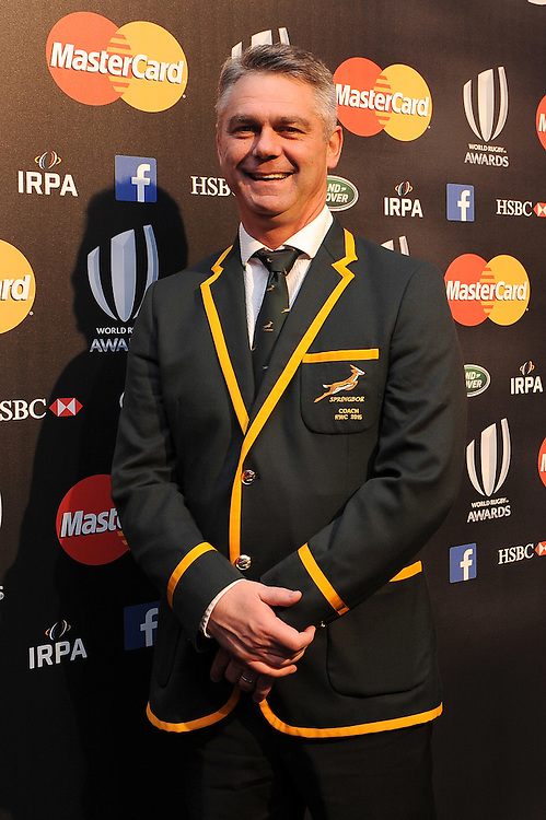 Heineken Meyer, South Africa Head Coach, at the World Rugby Awards 2015  - 01/11/2015 - Battersea Evolution, London<br /> Mandatory Credit: Rob Munro/Stewart Communications