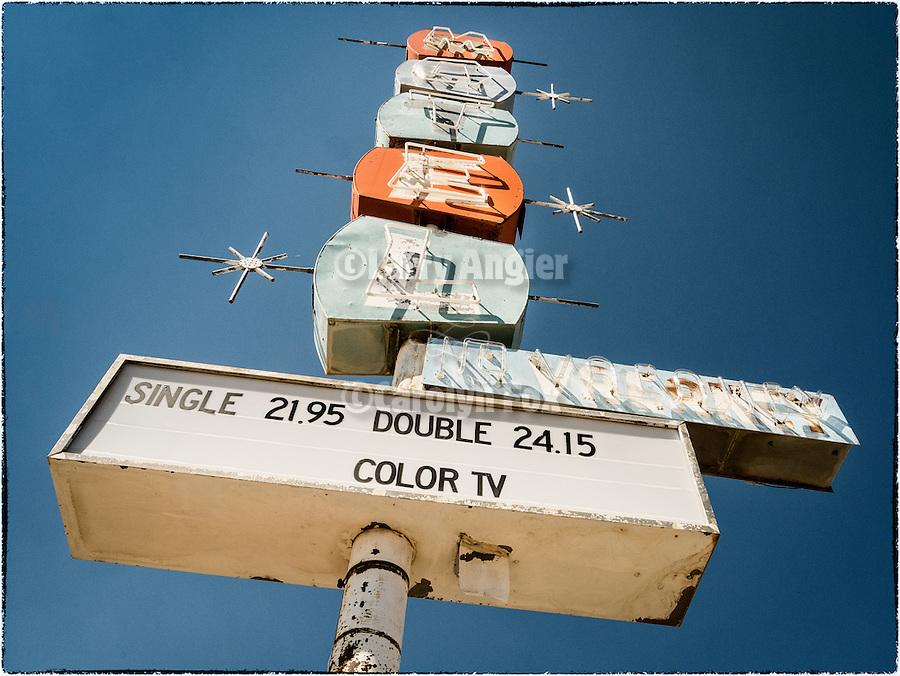 Abandoned hotel sign, Mina, Nev.