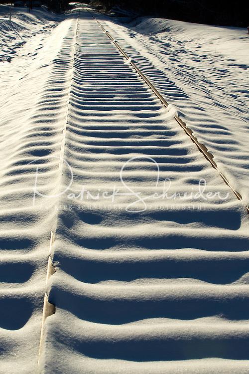 Snow Photography - Photography of  snow covered railroad tracks in Davidson North Carolina. <br /> <br /> Charlotte Photographer - PatrickSchneiderPhoto.com