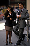 A couple of office workers during their lunch hour outside Lloyds of London 1992. The City of London  1990s UK