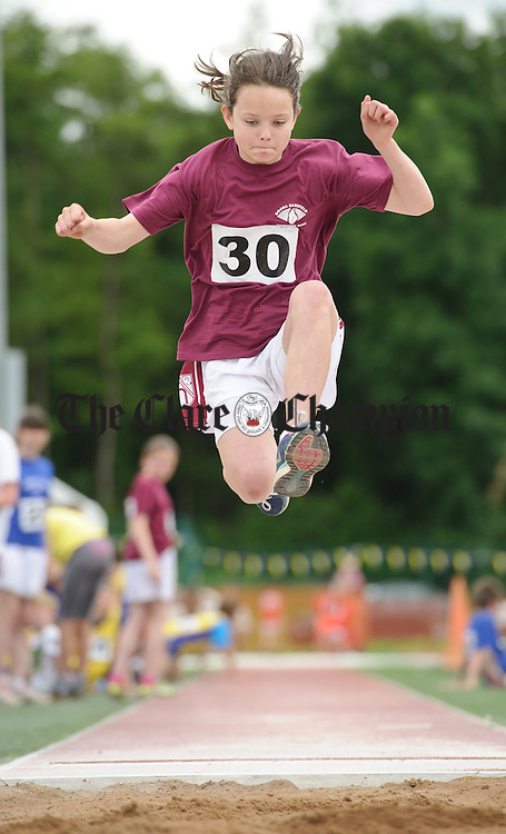 Maeve Dorgan of Doora Barefield of taking part in the long jump at the  Clare Community Games Athletic Finals in Lees Road, Ennis. photograph by John Kelly.