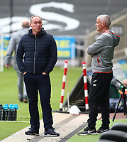 17th October 2020; Liberty Stadium, Swansea, Glamorgan, Wales; English Football League Championship Football, Swansea City versus Huddersfield Town; Steve Cooper, Manager of Swansea City chats to staff before kick off