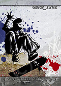 Roger, TEENAGERS, JUGENDLICHE, JÓVENES, paintings+++++_RM-TeenBoyGraffitiSK8,GBRM1202,#j#, EVERYDAY