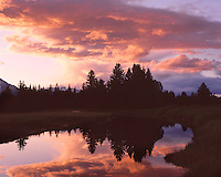 Sunset reflection on the Snake River below the Teton Range; Grand Teton National Park; WY
