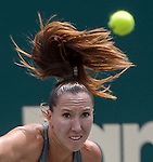 Jelena Jankovic (SRB) loses to Eugenie Bouchard (CAN) 6-3, 4-6, 6-3 at the Family Circle Cup in Charleston, South Carolina on April 4, 2014.