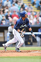 Asheville Tourists center fielder Daniel Montano (24) swings at a pitch during a game against the West Virginia Power at McCormick Field on April 18, 2019 in Asheville, North Carolina. The Power defeated the Tourists 12-7. (Tony Farlow/Four Seam Images)