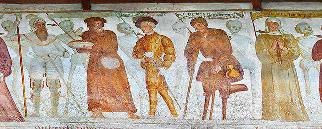 """The Church of San Vigilio in Pinzolo and its fresco paintings """"Dance of Death"""" painted by Simone Baschenis of Averaria in1539, Pinzolo, Trentino, Italy.<br /> <br /> Nobility, Knights and a beggar pierced with an arrow from the skeletons that are either side of him and represent dead."""