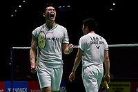 13th March 2020, Arena Birmingham, Birmingham, UK;  Chinese Taipeis Wang Chi-Lin and Lee Yang celebrate winning a point during the mens doubles quarterfinal match with Chinas Huang Kaixiang and Liu Cheng at All England Badminton 2020 in Birmingham